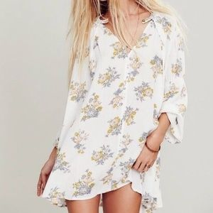 Free People Tree Swing Boho Orchid Floral Tunic